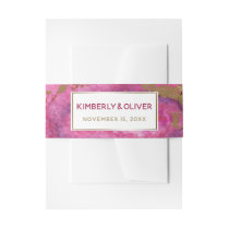 Pink Gilt Agate Wedding Invitations Invitation Belly Band