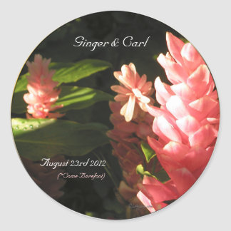Pink Ginger Tropical Flowers Envelope Seals Classic Round Sticker