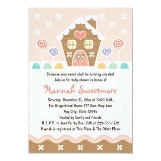 PINK GINGERBREAD HOUSE BABY SHOWER 5X7 PAPER INVITATION CARD