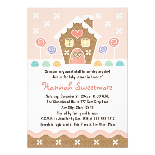 PINK GINGERBREAD HOUSE BABY SHOWER CARDS