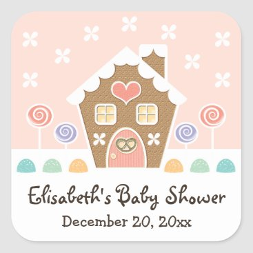 Christmas Themed PINK GINGERBREAD HOUSE BABY SHOWER PARTY FAVOR SQUARE STICKER