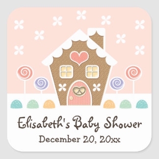 PINK GINGERBREAD HOUSE BABY SHOWER PARTY FAVOR SQUARE STICKER