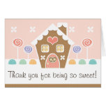PINK GINGERBREAD HOUSE  BABY SHOWER THANK YOU STATIONERY NOTE CARD