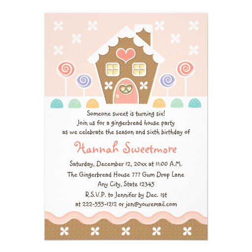 PINK GINGERBREAD HOUSE BIRTHDAY PARTY INVITATIONS