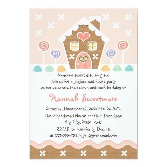 PINK GINGERBREAD HOUSE BIRTHDAY PARTY INVITATIONS – Gingerbread Party Invitations
