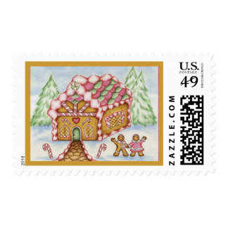 Pink Gingerbread House Postage
