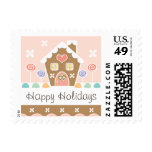 Pink Gingerbread House Postage Stamps
