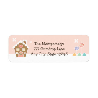 PINK GINGERBREAD HOUSE RETURN ADDRESS LABELS
