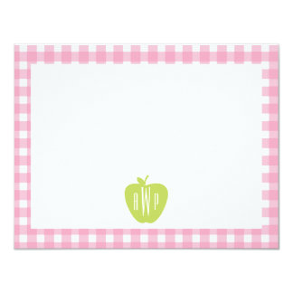 Pink Gingham and Apple Monogram Pattern Card