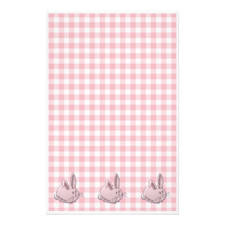 pink gingham and bunnies stationery