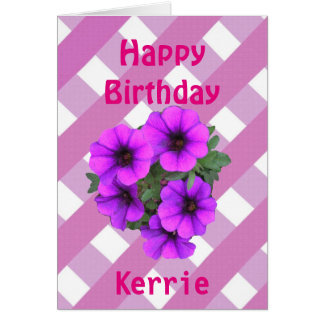 Pink Gingham and flowers add name birthday card