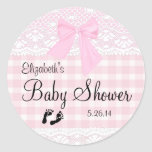 Pink Gingham and Lace Image Baby Shower- Classic Round Sticker