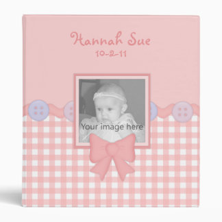 Pink Gingham Baby Girl Binder