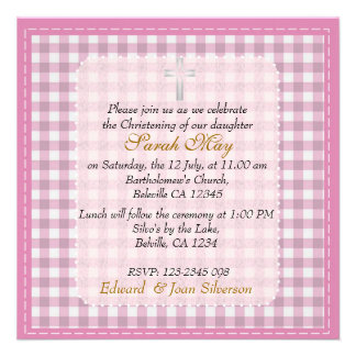 Pink gingham Baby Girl Christening Baptism Personalised Announcement