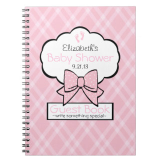 Pink Gingham Baby Shower Guest Book- Journals