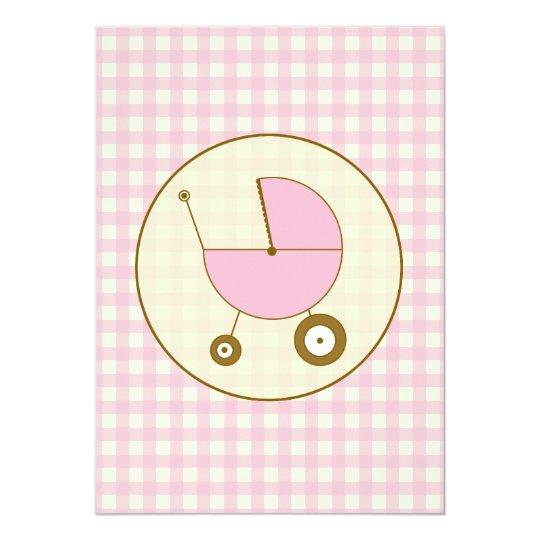 Pink Gingham Baby Shower Invitation