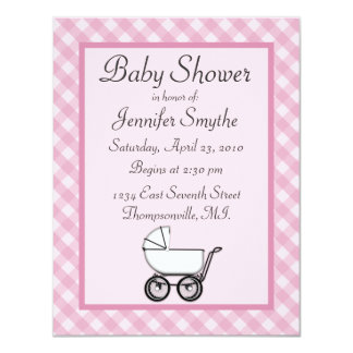 Pink Gingham Baby Shower Invitations