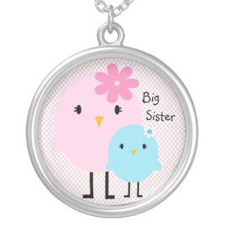 Pink Gingham Big Sister Birds Girls Necklace