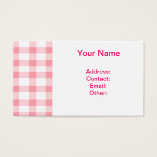 Pink Gingham Business Card