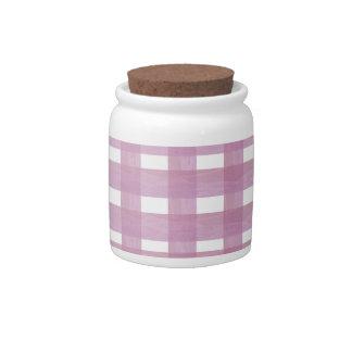Pink Gingham Candy Jar