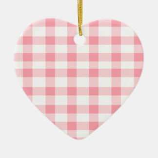 Pink Gingham Ceramic Ornament