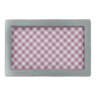 Pink Gingham Check - Diagonal Pattern Belt Buckle