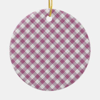 Pink Gingham Check - Diagonal Pattern Ceramic Ornament