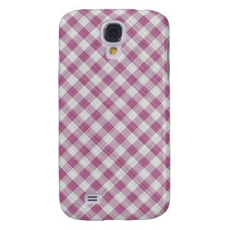 Pink Gingham Check - Diagonal Pattern Galaxy S4 Case