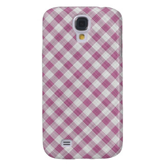 Pink Gingham Check - Diagonal Pattern Galaxy S4 Cover