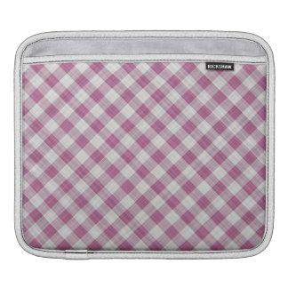 Pink Gingham Check - Diagonal Pattern iPad Sleeves