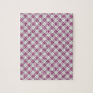 Pink Gingham Check - Diagonal Pattern Jigsaw Puzzle