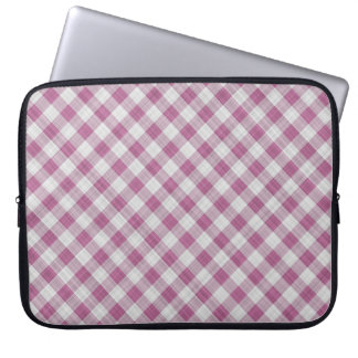 Pink Gingham Check - Diagonal Pattern Computer Sleeve