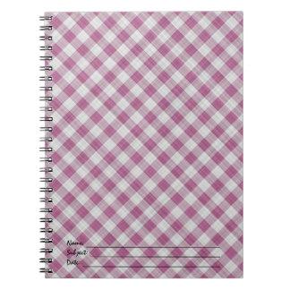 Pink Gingham Check - Diagonal Pattern Notebook