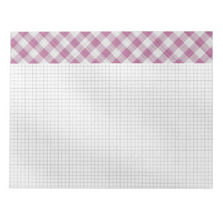 Pink Gingham Check - Diagonal Pattern Notepad