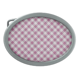 Pink Gingham Check - Diagonal Pattern Oval Belt Buckle