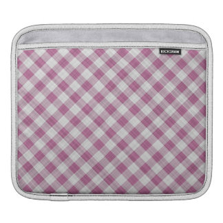 Pink Gingham Check - Diagonal Pattern Sleeve For iPads