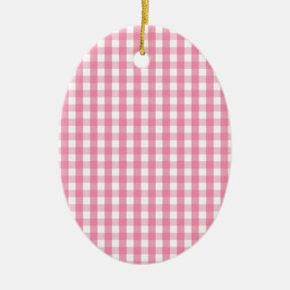 Pink Gingham Check Pattern Ceramic Ornament