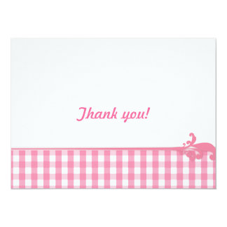Pink Gingham Check Pattern Personalized Announcement