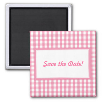 Pink Gingham Check Pattern 2 Inch Square Magnet