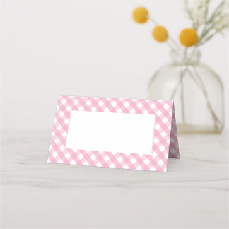 Pink Gingham Check Pattern Place Card