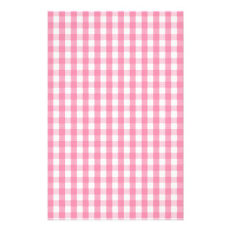 Pink Gingham Check Pattern Stationery