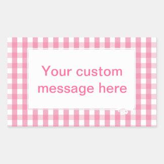Pink Gingham Check Pattern Sticker