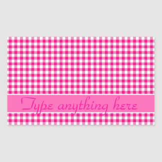 Pink Gingham Check Rectangular Sticker