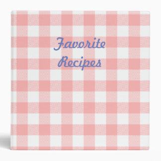 Pink Gingham Cookbook Binder