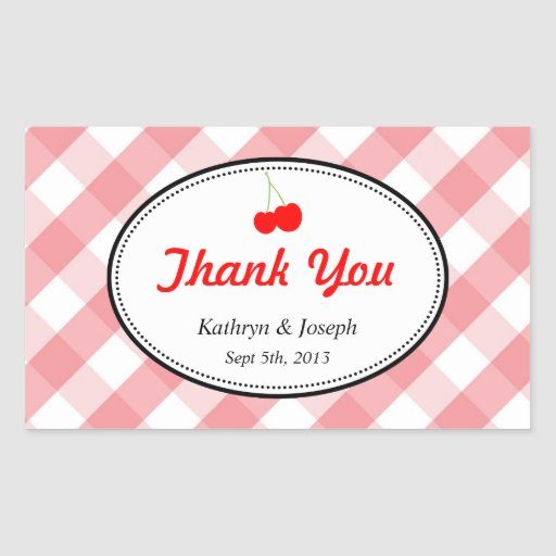 Pink gingham country picnic red cherry wedding rectangular sticker