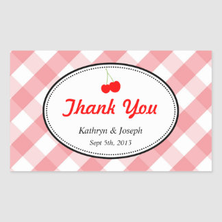 Pink gingham country picnic red cherry wedding rectangular sticker