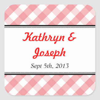 Pink gingham country picnic rustic wedding favor square sticker