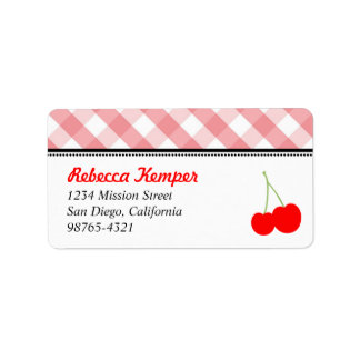 Pink gingham country red cherries return address labels
