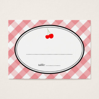 Pink gingham country rustic cherry seating card