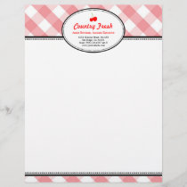 Pink gingham country rustic red cherry personal letterhead